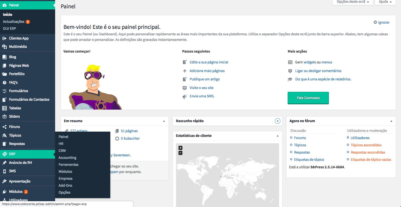 Painel inicial de WebContabilistas Plataforma